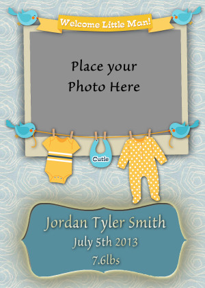 5x7 Welcome Baby Boy Card 1 by BlissfuLLimaging