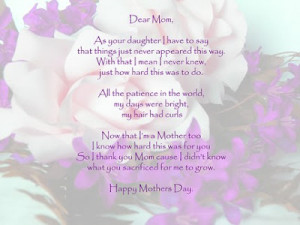 happy mothers day poems kids. happy mothers day poems in