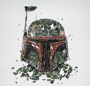 Boba Fett faces front and center as featured in Star Wars Identities .