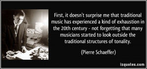 First, it doesn't surprise me that traditional music has experienced a ...