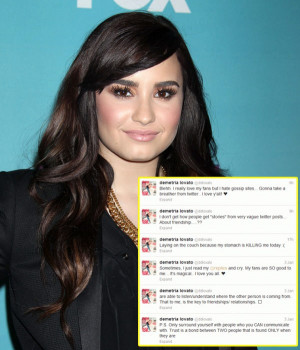 Demi announced to her Twitter fans that she was taking a break the ...