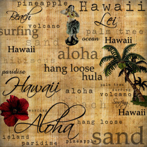 ... States Collection - Hawaii - 12 x 12 Paper - Hawaiian Words - Right