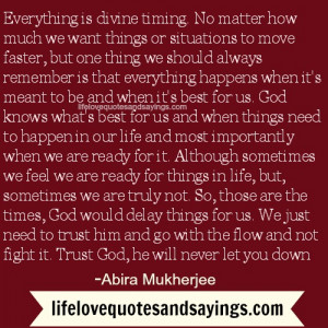 Everything is divine timing...