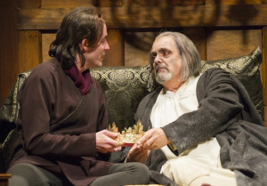 Matthew Amendt as Prince Hal and Edward Gero as King Henry IV in the ...