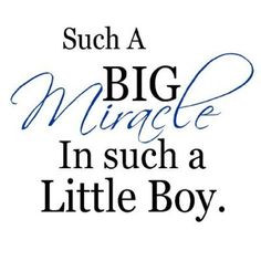 ... Big Miracle In Such A little Boy....Nursery Wall Quotes Words Sayings