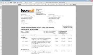 Bouwsoft price offer quotation Print management Report 1