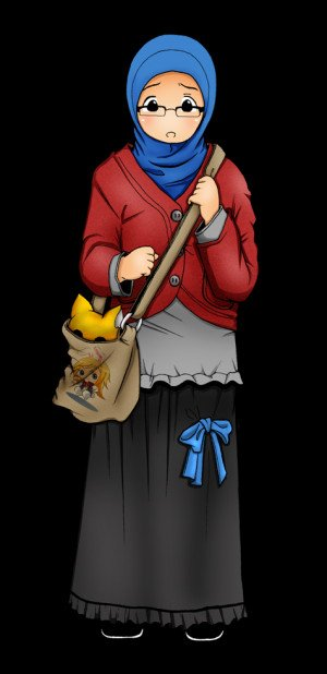 Blue Hijab, Red Jacket, Khaki Bag, Black Skirt, and Glasses | Quotes ...