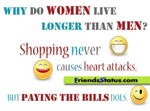 Why do women live longer than men? Shopping never causes heart attacks ...