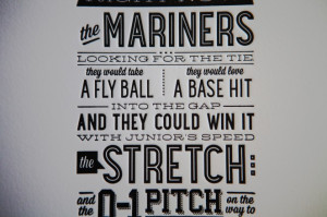 Letterpress 11×17 Seattle Mariners Quote Poster
