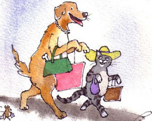 Funny Animals Greeting Card- Mouse Dog & Cat Card- Watercolor Animals ...