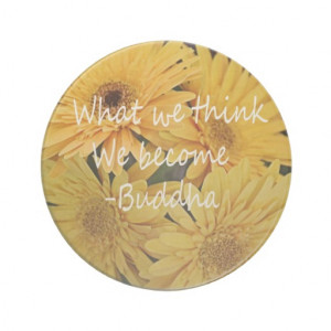 Pretty yellow flowers and an inspirational quote coaster