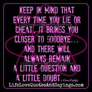 every time you lie or cheat..