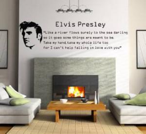 ELVIS PRESLEY FALLING IN LOVE Quote Decal WALL STICKER Lyrics Decor ...