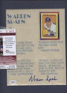 Details about Warren Spahn Autographed Quote Print JSA