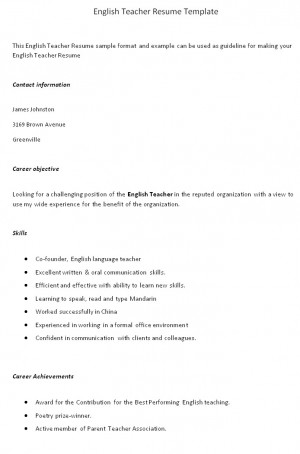 teacher resume templates with quotes  quotesgramenglish teacher resume sample format example