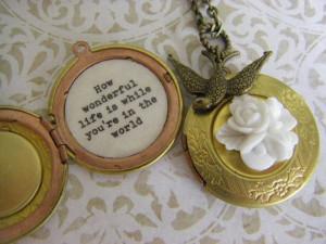Gardenia Sparrow Locket Necklace Elton John How wonderful life is ...