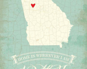 Georgia map art state poster- 8 x 10 Typographic poster, inspirational ...