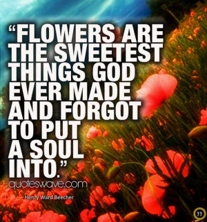 Flowers are the sweetest things God ever made and forgot to put a soul ...