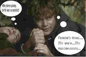 frodo who knew giving birth was so painful sam frodo