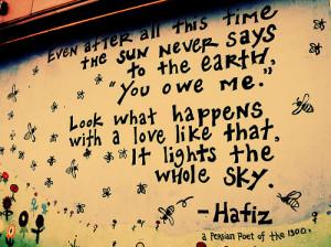 earth, love, poet, quote, selfless, sky, sun