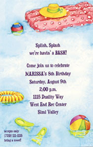 Pool Party Invitation/ Swimming pool birthday party Invitations