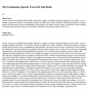 ... speech - a vehicle Graduation Speeches - Free - Facts - Information
