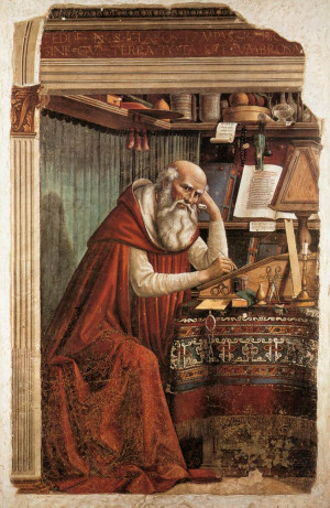 st jerome in his study 1480 fresco 184 x 119 cm ognissanti