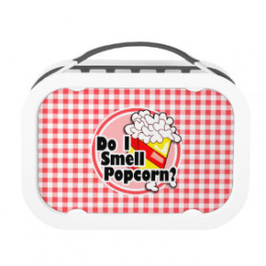 Funny Popcorn; Red and White Gingham Lunch Box