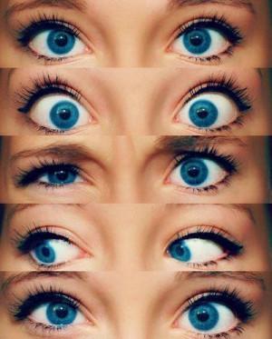 Pretty bright blue eyes.