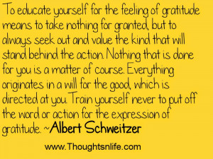 ... gratitude means to take nothing for granted, but.. ~Albert Schweitzer