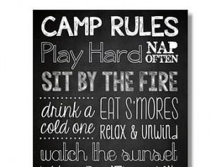 Camp Rules & Cottage Rules - Chalk board Decor Quotes Wall Art Digital ...