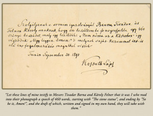 The statement of authenticity written and signed by Kossuth ...