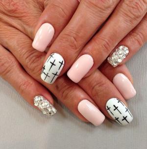 ... Nail Designs, White Nails Design, Pink And White Nails, Bling Nails