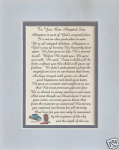Details about Adopted SON child ADOPTION verses poems plaques sayings