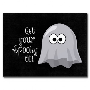 Funny, Cute Halloween Ghost; Get your Spooky On Post Cards