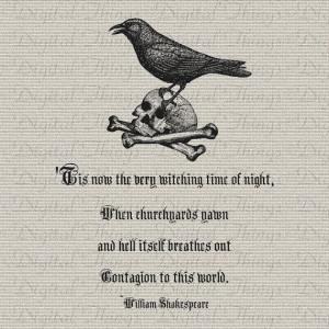 Halloween Skull Raven William Shakespeare Quote Wall Decor Printable ...