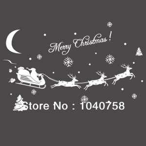 White-Merry-Christmas-Snow-Santa-Claus-Reindeer-Rudolph-Vinyl-Quote ...