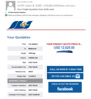 LCL Freight Calculator Email Confirmation