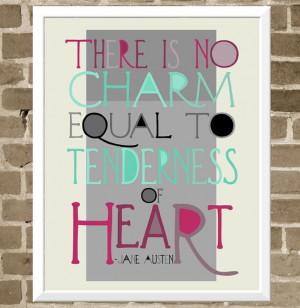 Jane Austen Quote - 11x14 Typography Print - Modern Book Lover Wall ...