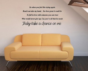Baby take a chance on me- Say Quote Word Lettering Art Vinyl Sticker ...