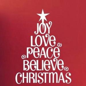 Joy, love, peace, believe, christmas