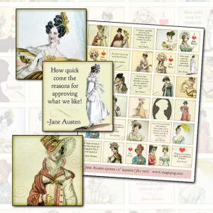 Jane Austen Quotes and Regency Era Fashion 1.5 inch square 38mm ...