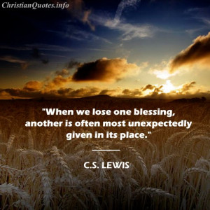 Lewis Quote - Blessings - field and sunset