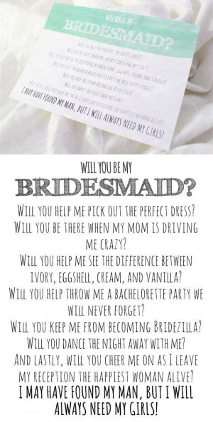 Will you be my bridesmaid card - bridesmaid poem. They also have maid ...