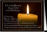 Light A Candle In Loving Memory of Dad on his Birthday Cards Paper ...