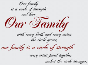 Catalog > Our Family Circle of Strength, Family Wall Art Decal