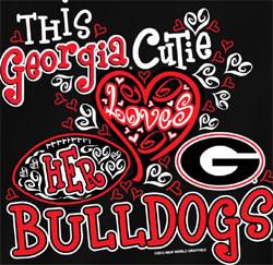 Georgia Bulldogs Football T-Shirts - Cutie Loves Her Bulldogs