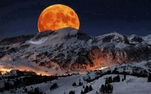 ... of Full moon ,at Sierra Nevada Sequoia National Park California USA
