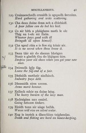 Sayings in Gaelic English Translation