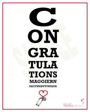 Nurse Doctor Medical Healthcare Graduation Congratulations Eye Chart ...